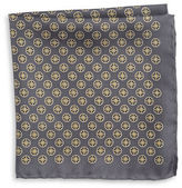 Black Brown 1826 Silk Neat Medallion Pocket Square