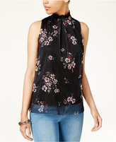 BCX Juniors' Printed Mesh High-Neck Top