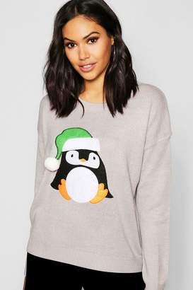 boohoo Penguin Applique With Pom Pom Christmas Jumper
