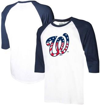 Stitches Men's White/Navy Washington Nationals Stars & Stripes Americana Raglan 3/4-Sleeve T-Shirt