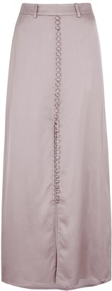 Birgitte Herskind Supreme Mauve Satin Maxi Skirt
