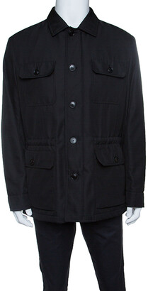 Ermenegildo Zegna Black Patch Pocket Detail Button Front Jacket XL