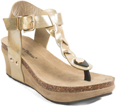 Pierre Dumas Gold Chantal T-Strap Sandal