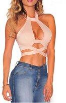 Aimur Womens Sexy Crisscross Cut Out Halter Crop Top Clubwear