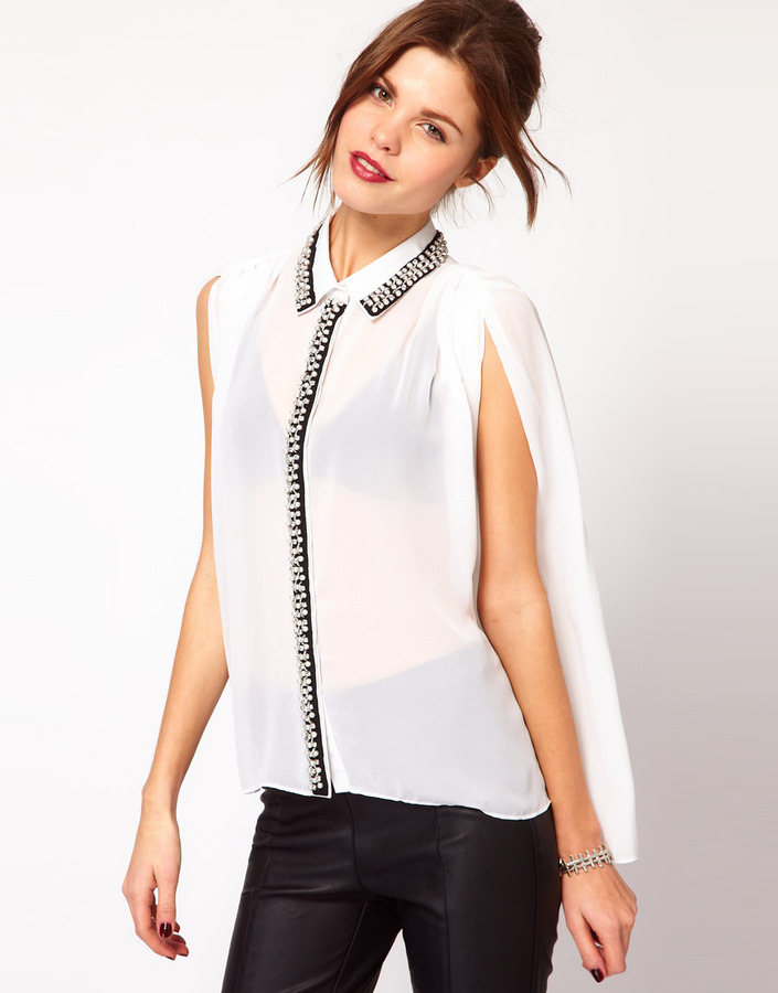 Warehouse Contrast Embellished Collar Blouse