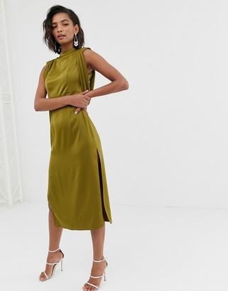 ASOS DESIGN satin midi dress with drape armhole and side split