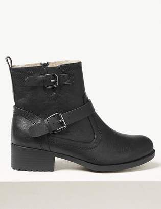 M&S CollectionMarks and Spencer Wide Fit Block Heel Biker Ankle Boots