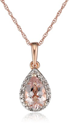 """Amazon Collection 10K Rose Gold Morganite with Diamond Accent Drop Pendant Necklace 18"""""""