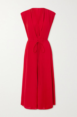 Valentino Tie-detailed Pleated Silk-georgette Midi Dress - Red