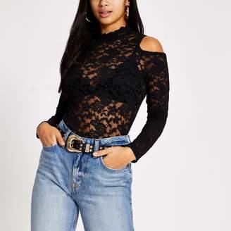 River Island Womens Petite Black lace cold shoulder scallop top