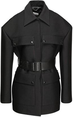 Magda Butrym Wool Blend Short Coat W/ Leather Belt