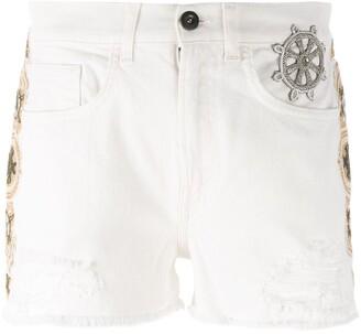 Mr & Mrs Italy Embellished Denim Shorts
