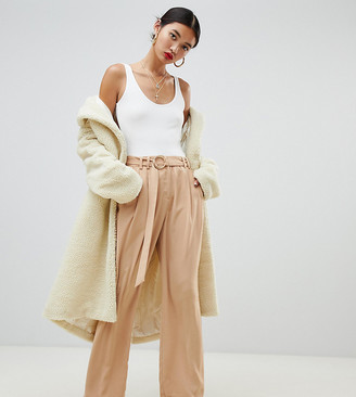 NA-KD Na Kd wide leg trousers with tie waist in camel-Brown