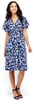 Lands' End Women's Petite Flutter Sleeve Surplice Dress-Moonlight Navy Floral
