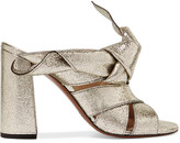 Chloé Knotted Metallic Textured-leather Mules - Gold