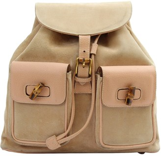 Gucci Bamboo Beige Suede Backpacks