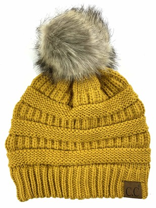 Plum Feathers Soft Stretch Cable Knit Ribbed Faux Fur Pom Pom Beanie Hat - yellow - One Size
