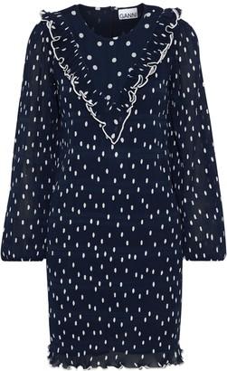 Ganni Lowell Ruffle-trimmed Polka-dot Plisse-georgette Mini Dress