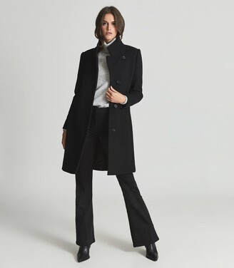 Reiss Marcie - Wool Blend Mid Length Coat in Black