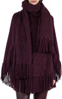 Akris Punto Fringed Cable-Knit Shawl