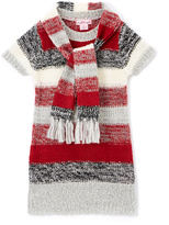 Pink Angel Red & Black Stripe Sweater Dress & Scarf - Toddler & Girls