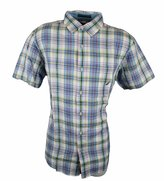 Nautica Men's Madras Plaid Short Sleeve Shirt (XL, Purple/Blue Plaid)