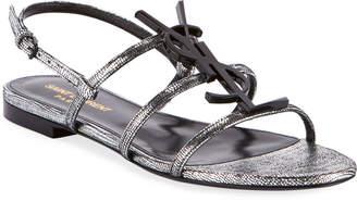 Saint Laurent Cassandre Logo Flat Metallic Sandals