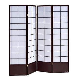 Screen Gems Shoji 4 Panel Wood Screen Room Divider