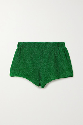 Oseree Lumiere Stretch-lurex Shorts - Green
