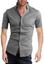 Elonglin Mens Casual Dress Shirts Short Sleeve Solid Color