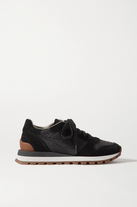 Brunello Cucinelli Bead-embellished Nylon And Suede Sneakers - Black