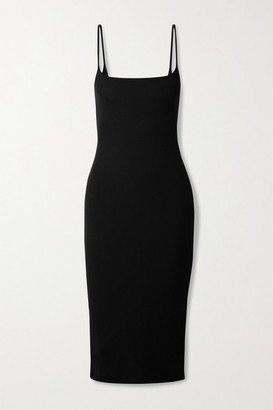 Reformation Milano Ribbed Stretch-tencel Lyocell Jersey Midi Dress - Black