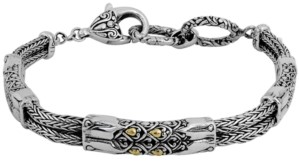 Devata Dragon Skin Classic Bracelet with Dragon Bone Chain in Sterling Silver and 18k Yellow Gold Accents