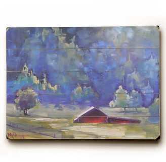 Schiff One Bella Casa Lavender Landscape Planked Wood Wall Decor By Carol