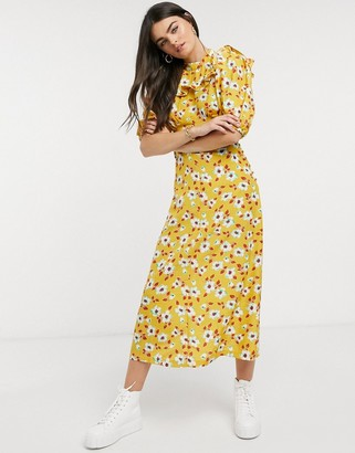 ASOS DESIGN frill neck midi tea dress in yellow floral print