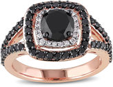 MODERN BRIDE Midnight Black Diamond 2 CT. T.W. White and Color-Enhanced Black Diamond 14K Rose Gold Ring