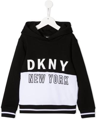DKNY Colour-Block Logo Hoodie