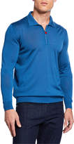 Kiton Men's Long-Sleeve Zip Polo Shirt