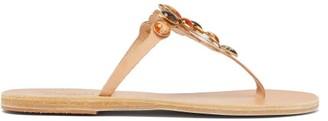 Ancient Greek Sandals Lina Gem-embellished Leather Sandals - Tan Multi