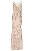 Quiz Gold And Nude Sequin Fishtail Maxi Dress