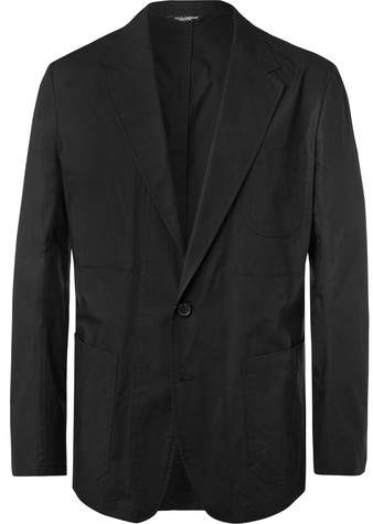 Dolce & Gabbana Black Unstructured Cotton-Poplin Blazer