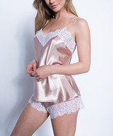 Just Sexy Women's Sleep Bottoms Rose/White - Rose & White Lace-Trim Cami & Short Set - Women & Plus