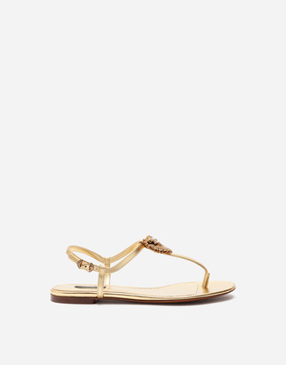 Dolce & Gabbana Nappa Leather Devotion Thong Sandals
