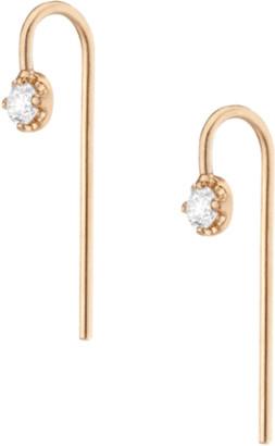 AUrate New York Short Midi Diamond Hook Earrings