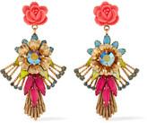 Elizabeth Cole 24-karat gold-plated Swarovski crystal, stone and resin earrings