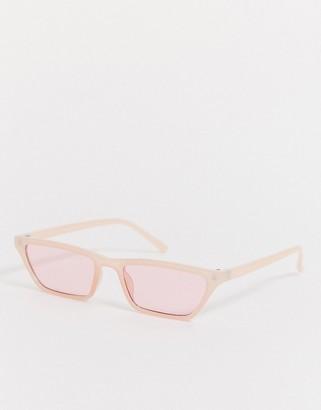 Pieces slim cateye sunglasses in pink