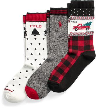 Ralph Lauren Holiday Truck Crew Sock 3-Pack