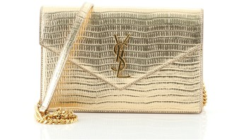 Saint Laurent Classic Monogram Wallet on Chain Lizard Embossed Leather Small