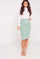 Missguided Faux Suede Midi Skirt Green