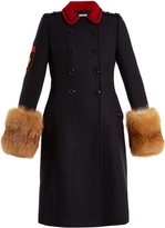 Miu Miu Fur-trimmed double-breasted wool coat